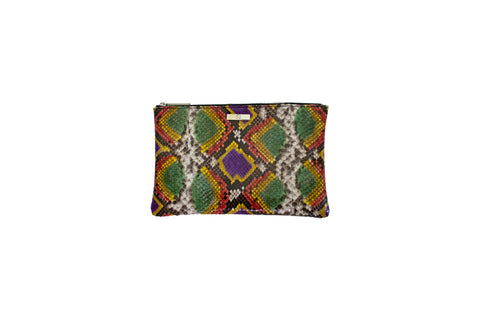 Harbor Island Medium Clutch, Fairy Dust Snakeskin