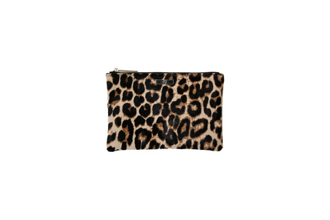 Harbor Island Medium Clutch, Leopard Print Calfskin