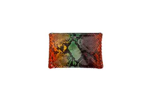 Harbor Island Medium Clutch, Tie Dye Snakeskin