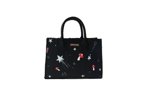 Belgravia Mini Tote, Hand-Painted Mushroom Stars, Black Watersnake