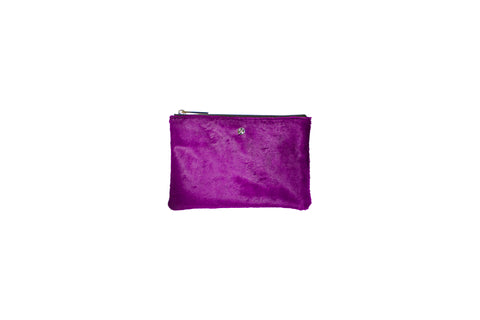 Harbor Island Mini Clutch, Fuchsia Calfskin