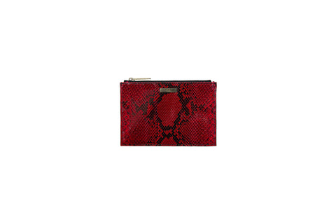 Harbor Island Mini Clutch, Red Diamond Glazed Snakeskin