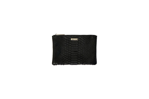 Harbor Island Mini Clutch, Black Matte Snakeskin