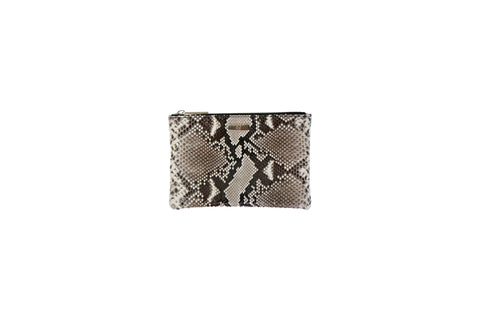 Harbor Island Mini Clutch, Natural Glazed Snakeskin