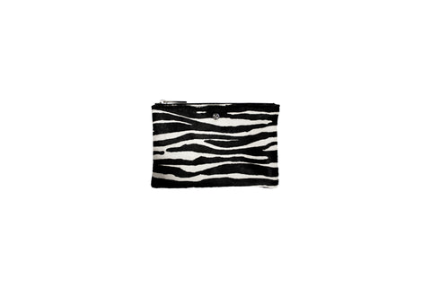 Harbor Island Mini Clutch, Zebra Print Calfskin