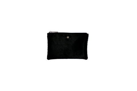Harbor Island Mini Clutch, Black Calfskin