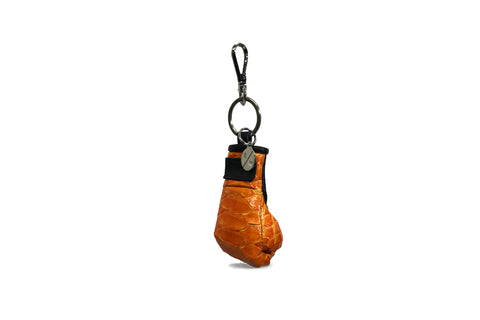 Manila Mini Keychain, Orange Glazed Snakeskin