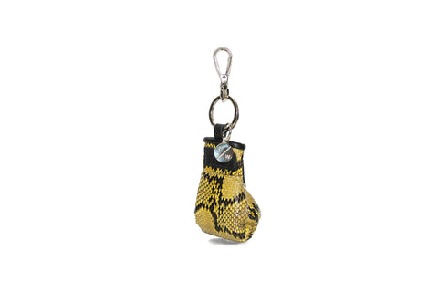 Manila Mini Keychain, Black/Yellow Diamond Glazed Snakeskin