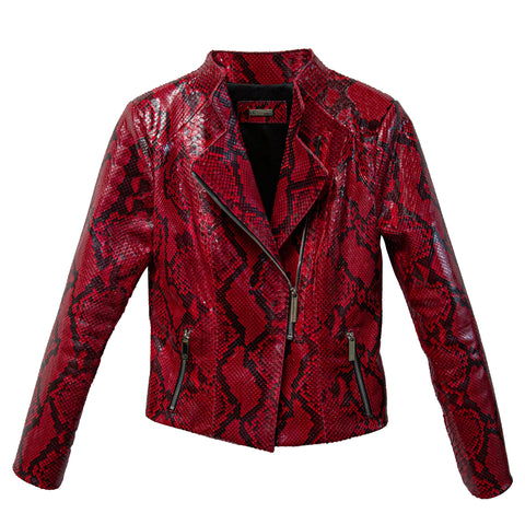 Moscow Biker Jacket, Red/Black Diamond Glazed Snakeskin