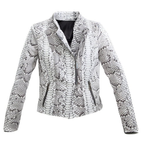 Moscow Biker Jacket, Salt & Pepper Snakeskin