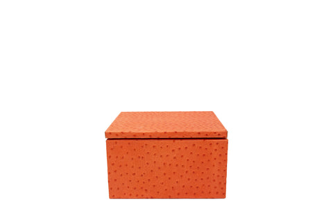 Mykonos Stacking Boxes, Orange Ostrich Embossed Leather