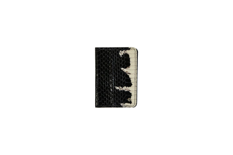 Panama Card Holder, Black/White Starburst Glazed Snakeskin