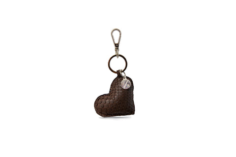 Prague Keychain, Brown Matte Snakeskin