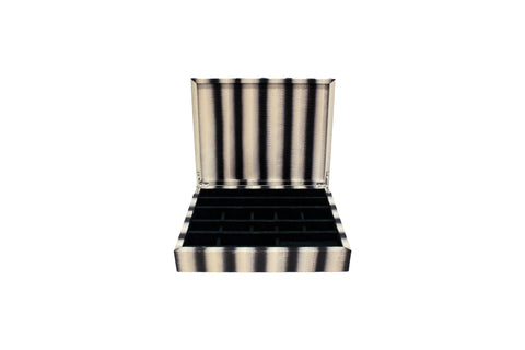 Punta Del Este Jewelry Box, White Grey Stripe Watersnake