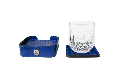 Rabat Coasters, Electric Blue Glazed Snakeskin