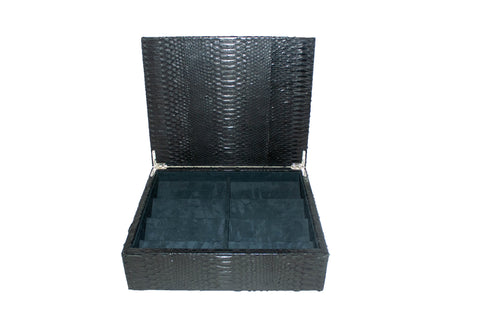 Cannes Sunglasses Case, Black Snakeskin