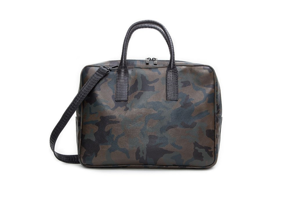The City Computer Bag, Army Green Camo Italian Leather w/ Black Whipsnake Trim