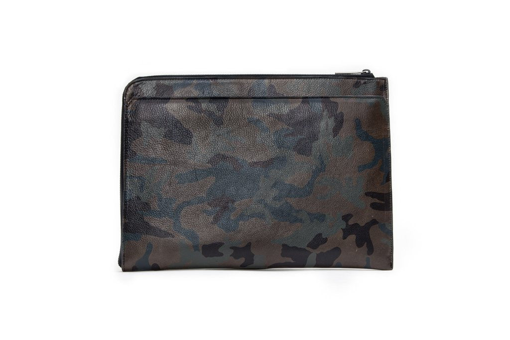West Indies Document Holder, Army Green Camo Italian Leather