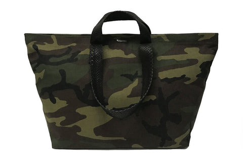 Antibes Duffle Bag, Camo Fabric/Black Snakeskin Straps