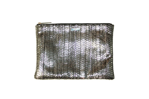 Harbor Island Clutch, Antique Silver Italian Watersnake