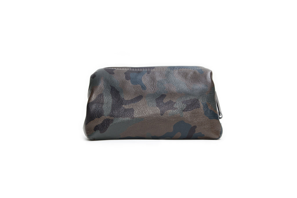 Palermo Dopp Kit, Army Green Camo Italian Leather