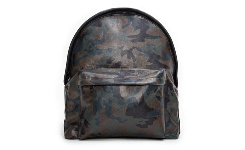 The Andes Backpack, Army Green Camo Italian Leather