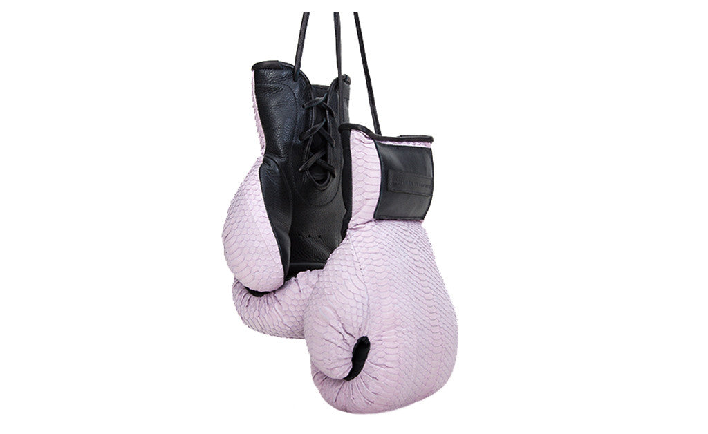 Manila Boxing Gloves, Baby Pink Italian Watersnake