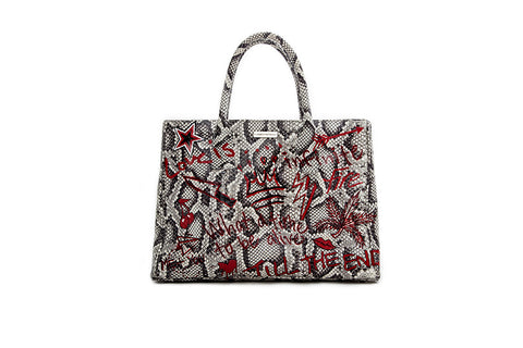Belgravia Medium Tote, Hand-Painted Graffiti, Python Print Elaphe