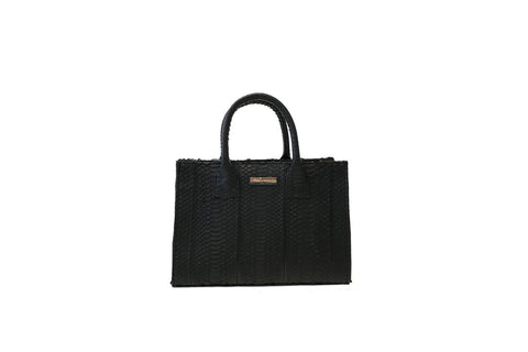 Belgravia Mini Tote, Black Italian Watersnake