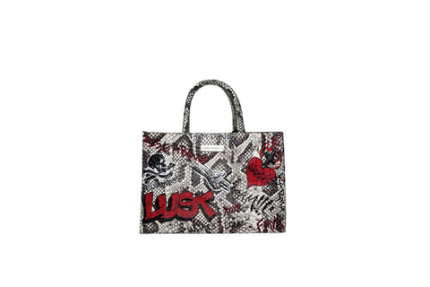 Belgravia Mini Tote, Hand-Painted Graffiti, Python Print Elaphe