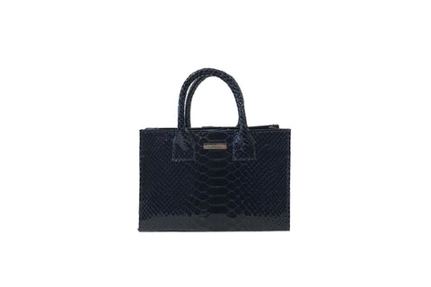 Belgravia Mini Tote, Midnight Glazed Snakeskin