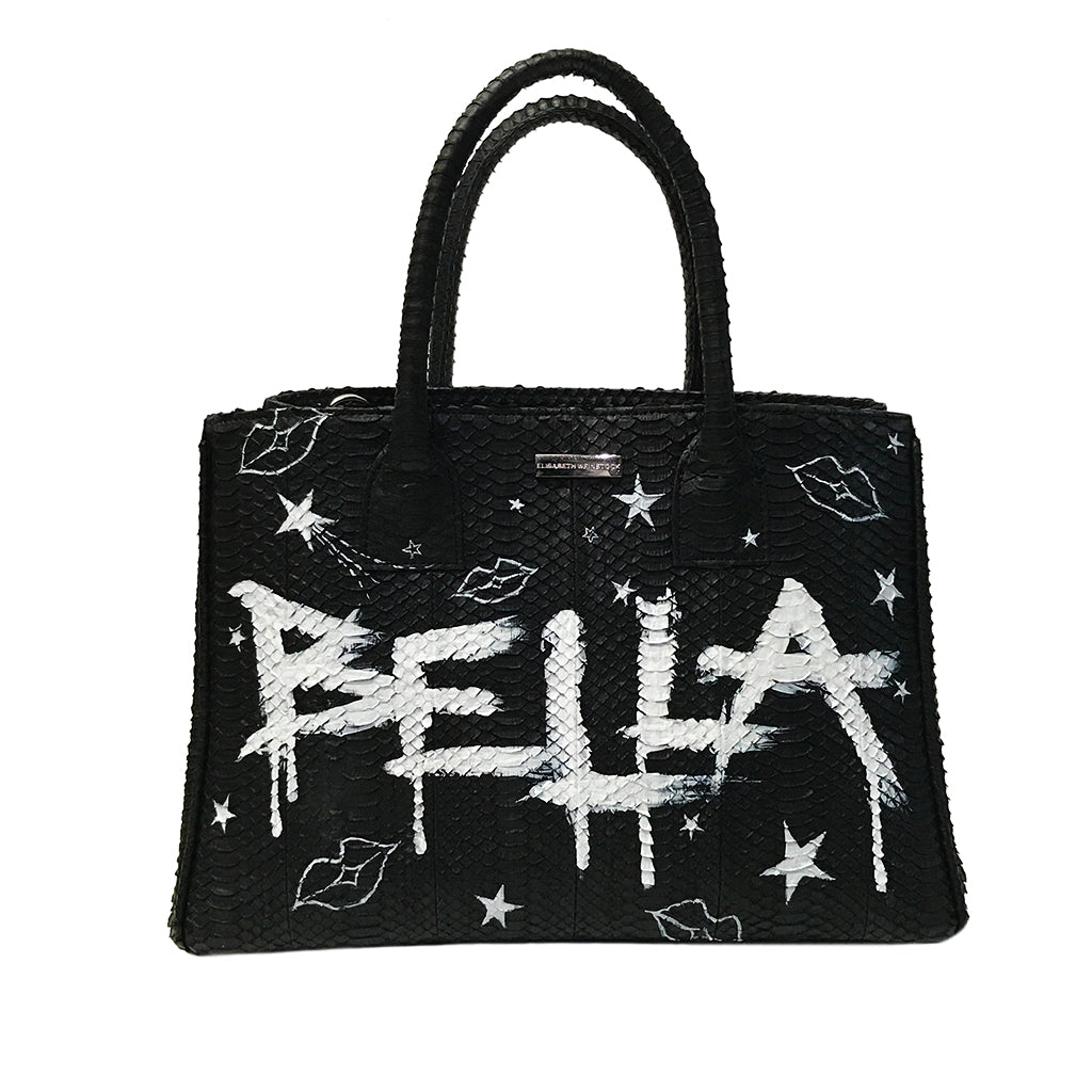 Custom Hand-Painted Belgravia Medium, Black Italian Watersnake