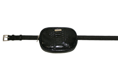 Avignon Fanny Pack with Belt, Black Glazed Snakeskin