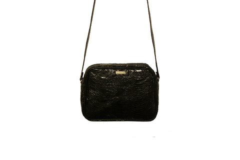 Venice Cross-Body, Black Glazed Whipsnake