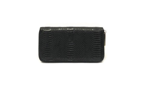Denmark Wallet, Black Italian Watersnake, Front