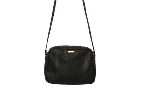 Venice Cross-Body, Black Italian Watersnake