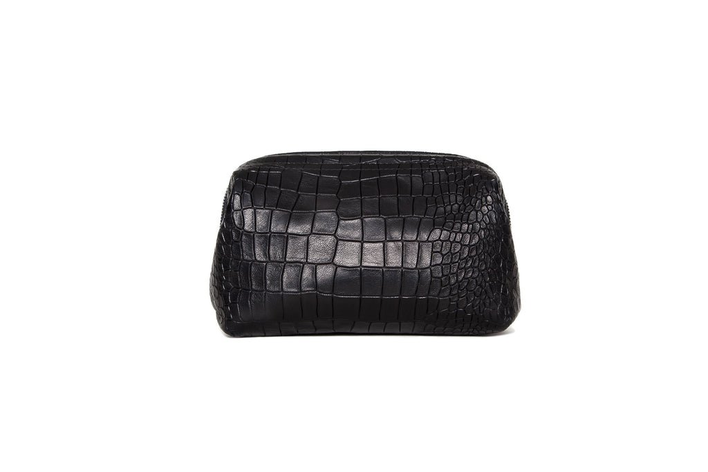 Palermo Dopp Kit, Black Croc Embossed Lambskin