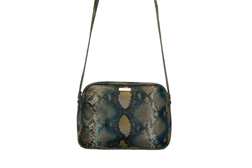 Venice Cross-Body, Blue and Gold Snakeskin