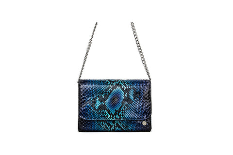 New Mexico Small Shoulder Bag, Electric Blue Glazed Snakeskin