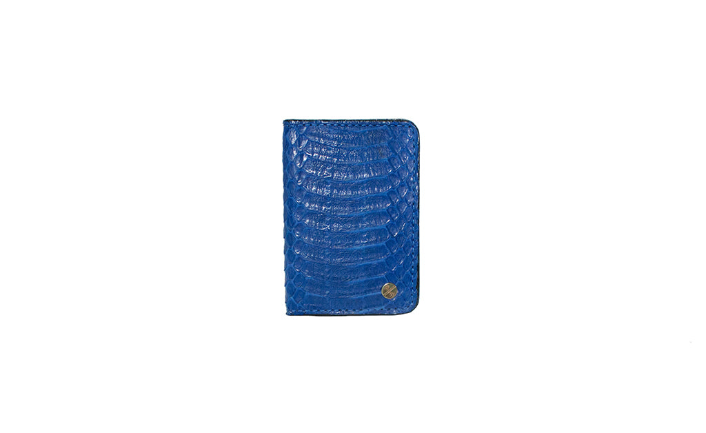 Panama Card Holder, Electric Blue Whipsnake