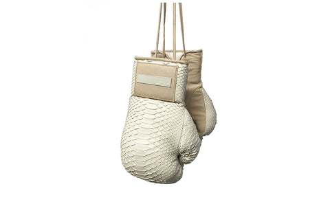 Manila Boxing Gloves, Bone Matte Snakeskin