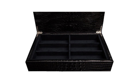 Cannes Sunglasses Case, Black Croc Embossed Lambskin