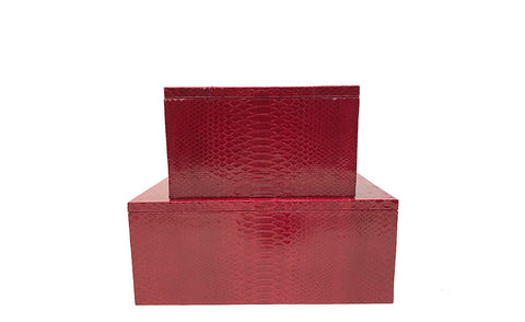 Mykonos Stacking Boxes, Cherry Glazed Snakeskin