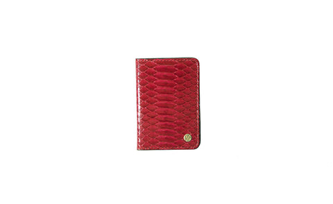 Panama Card Holder, Cherry Glazed Snakeskin