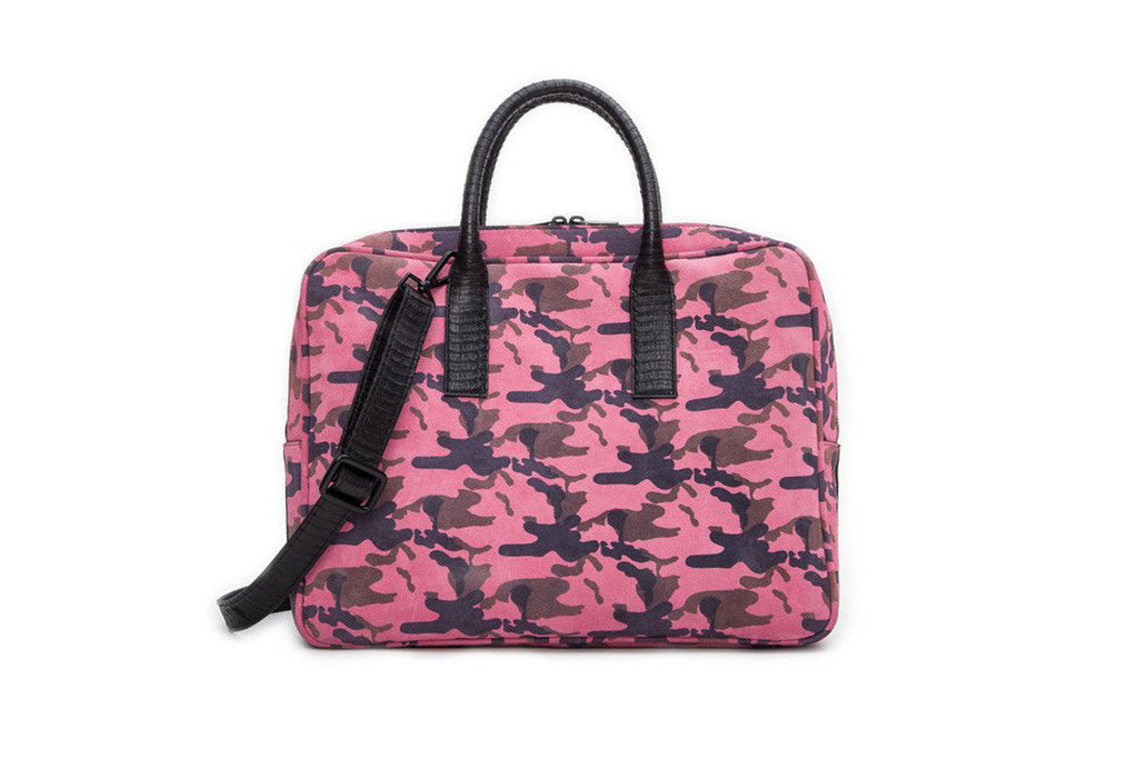 The City Computer Bag, Pink Camo Italian Suede w/ Black Whipsnake Trim