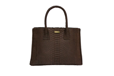 Belgravia Medium Tote, Coffee Matte Snakeskin
