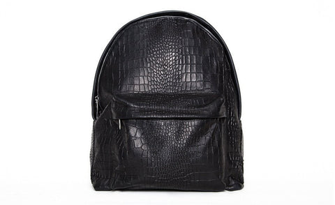 The Andes Backpack, Black Croc Embossed Lambskin