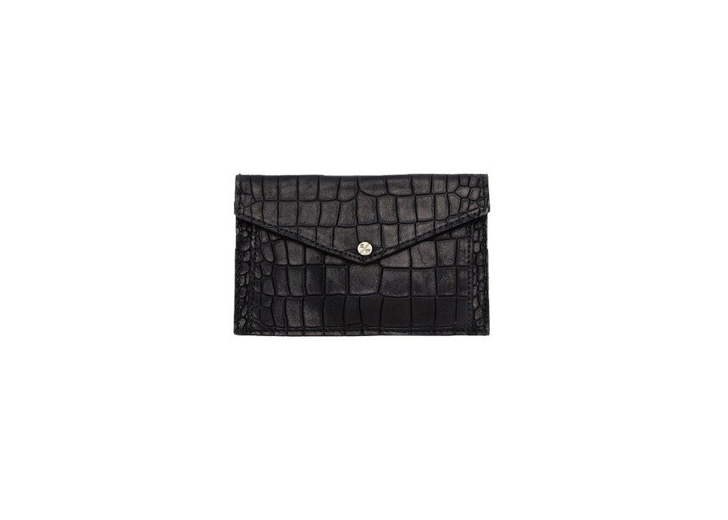 Provence Small Wallet, Black Croc Embossed Lambskin