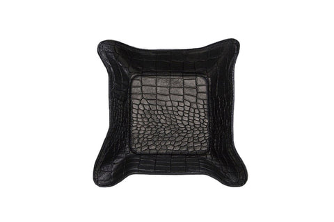 Quebec Travel Valet Large, Black Croc Embossed Lambskin