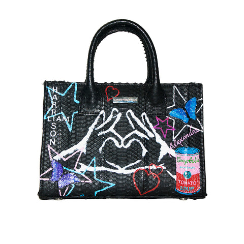 Custom Hand-Painted Belgravia Mini Tote, Black Italian Watersnake